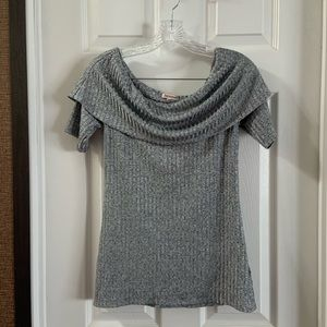 Juicy Couture Grey Fold Over Off Shoulder Blouse M